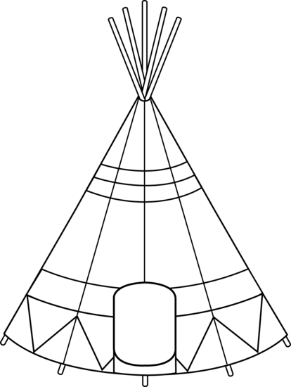 Tipi drawing black and white. Free teepee banner