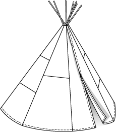Tipi drawing tepee. Burda style patchwork aus