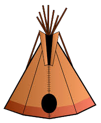 Tipi drawing house. Nomadics makers teepee