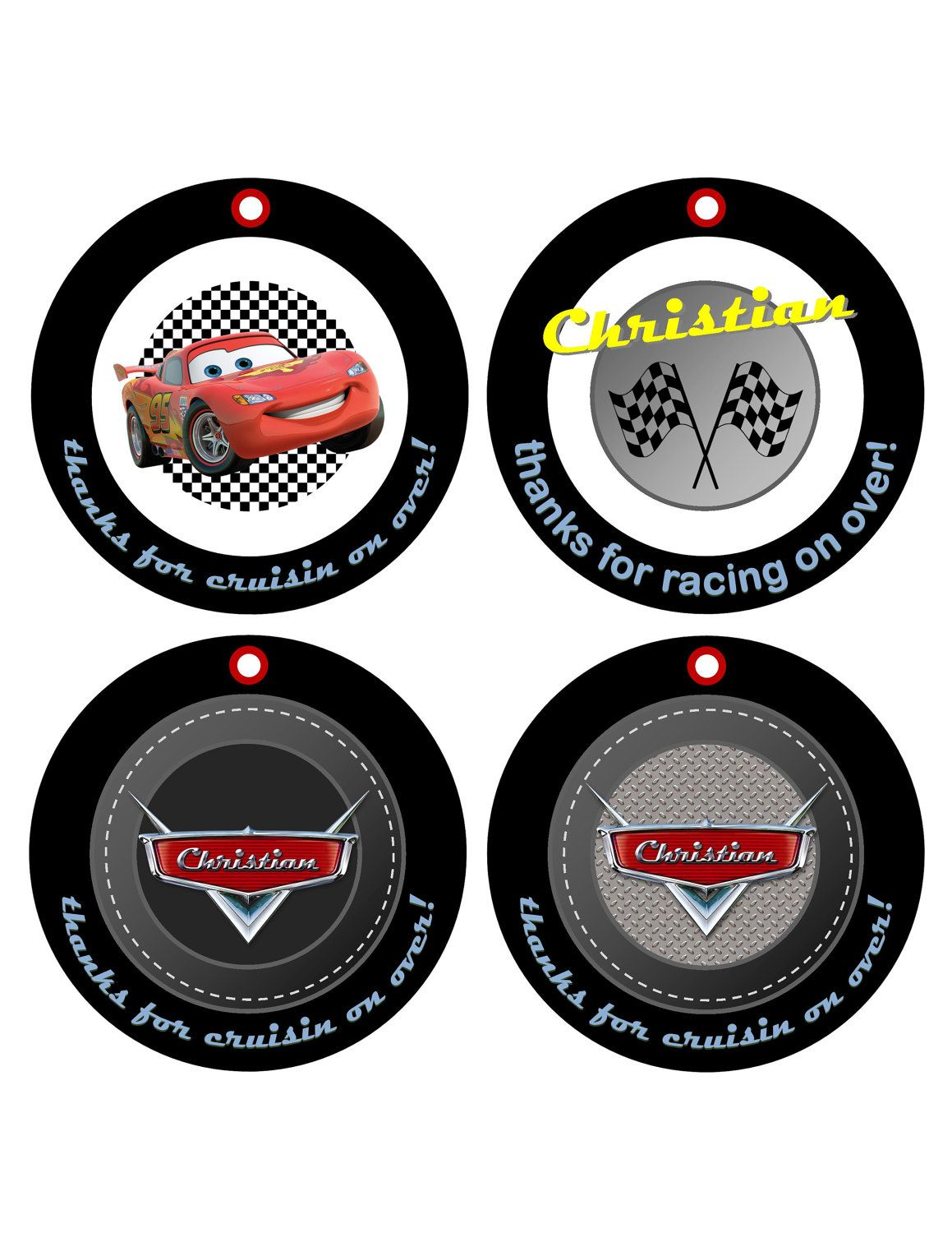 Tire clipart lightning mcqueen. Custom personalized cars round