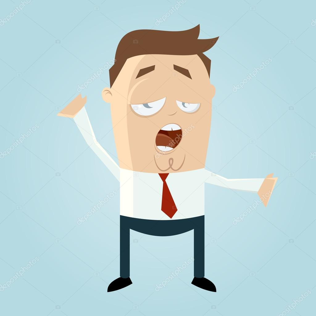 Tired clipart person tired. Funny cartoon man is