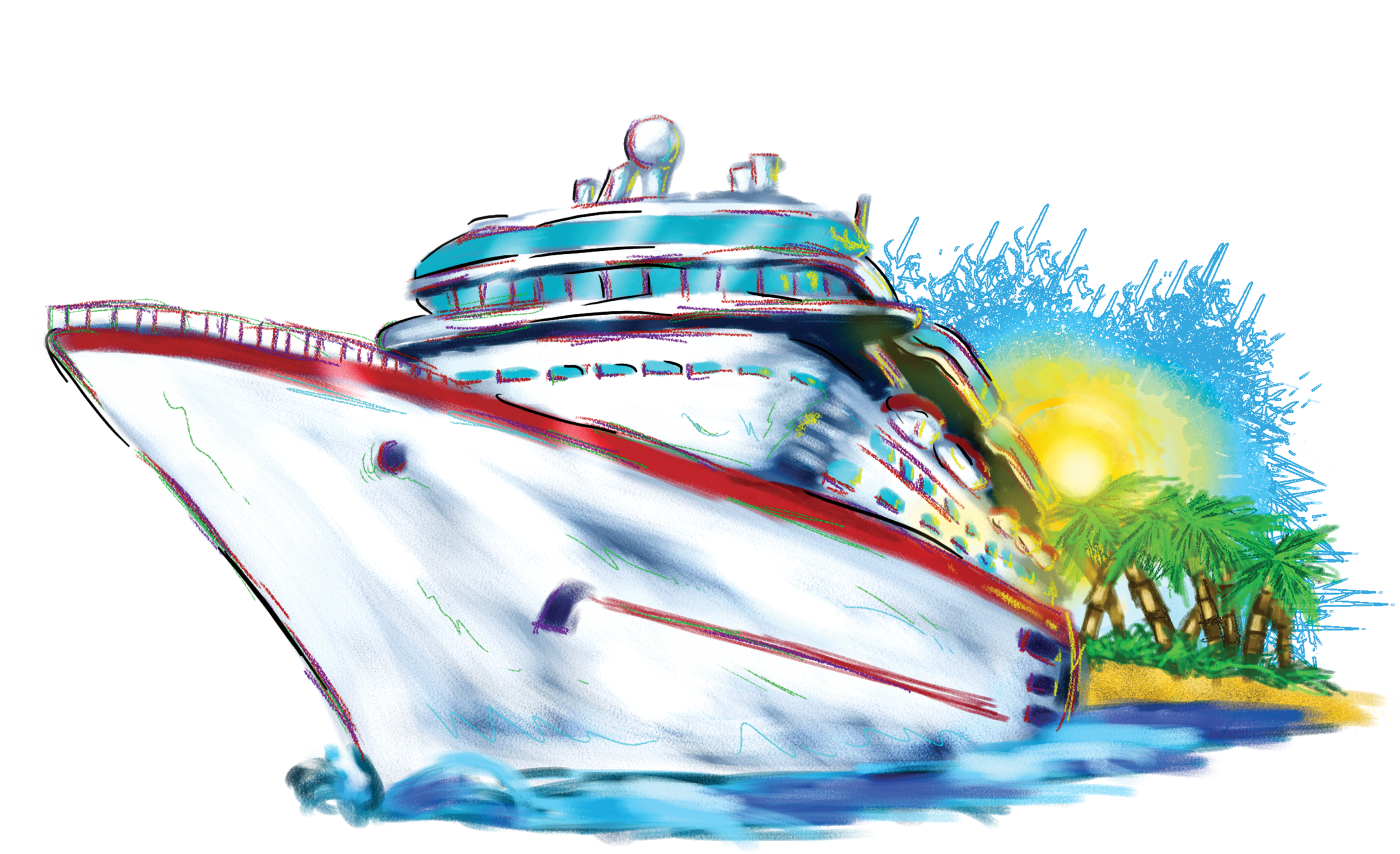 Port drawing cruise ship. Clip art free clipart