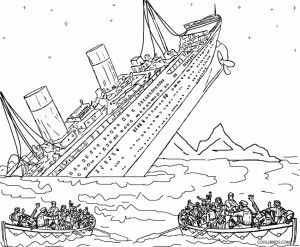 Sinking coloring pages line. Titanic clipart color jpg royalty free library