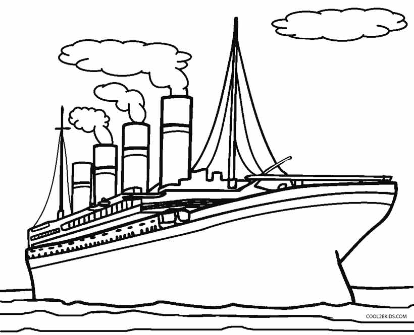 Titanic clipart color. Outline pencil and in image free