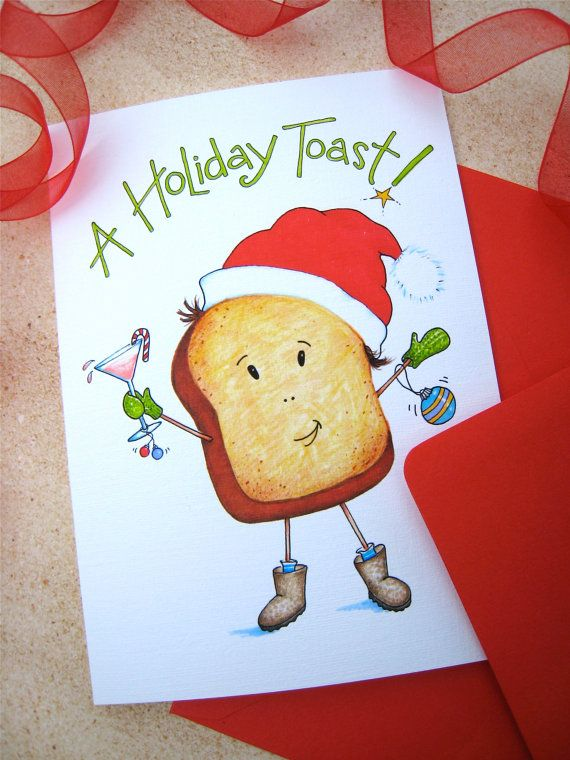 Toast clipart holiday cheer. Christmas card pun funny