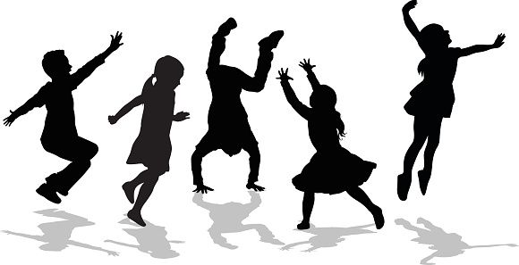 Toddler clipart active kid. Silhouette of high energy
