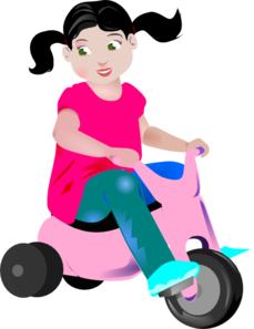 Large tricycle. Girl riding a pink