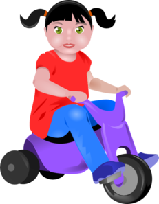 Toddler vector girl. On tricycle clip art