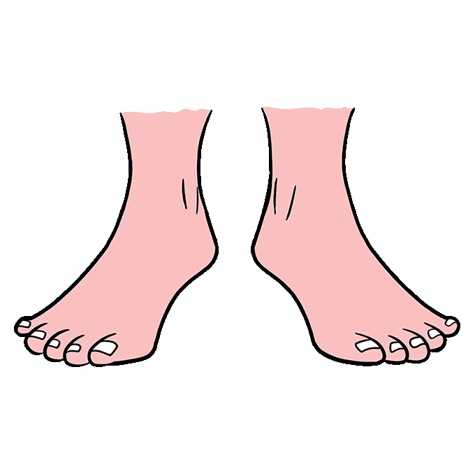 Toe drawing fish. How to draw feet