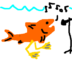 Toe drawing fish. Singing with duck feet