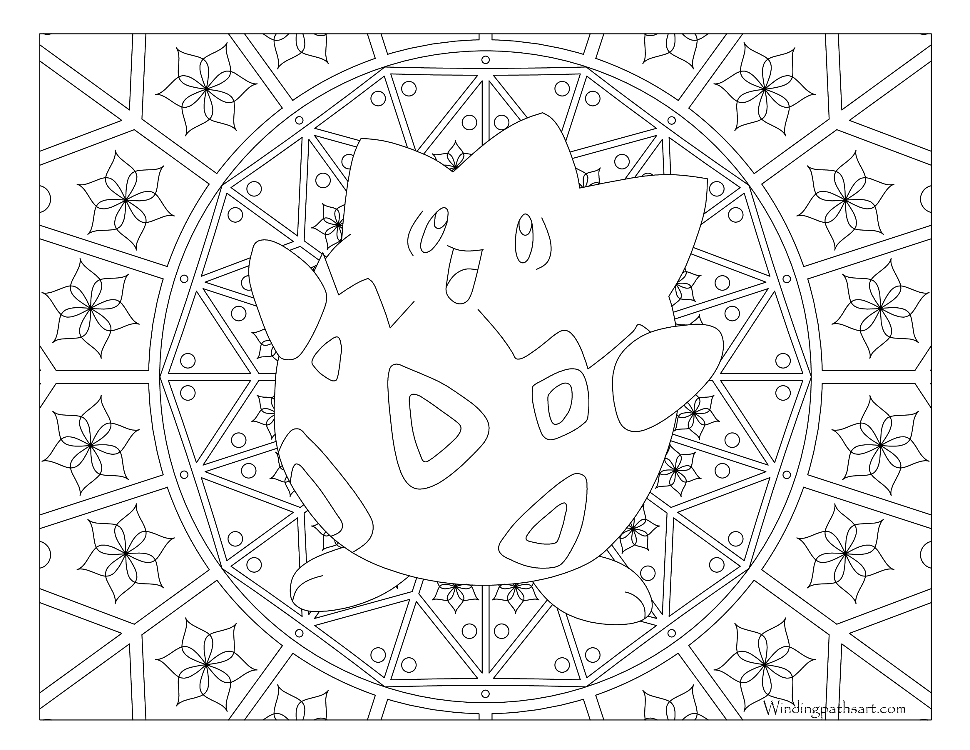 Togepi drawing. Pokemon coloring page