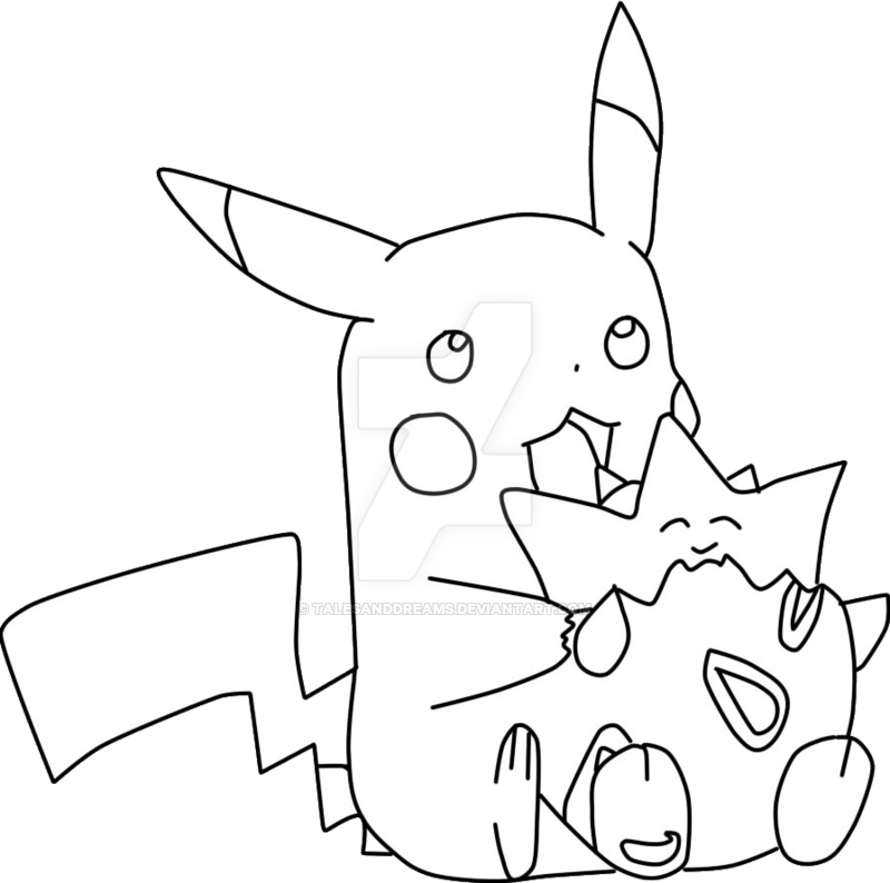 Lineart pikachu and by. Togepi drawing svg library stock