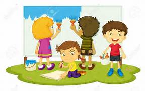 Together clipart kids. Pictures of working group
