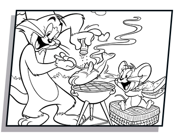 Tom drawing coloring page. And jerry chef
