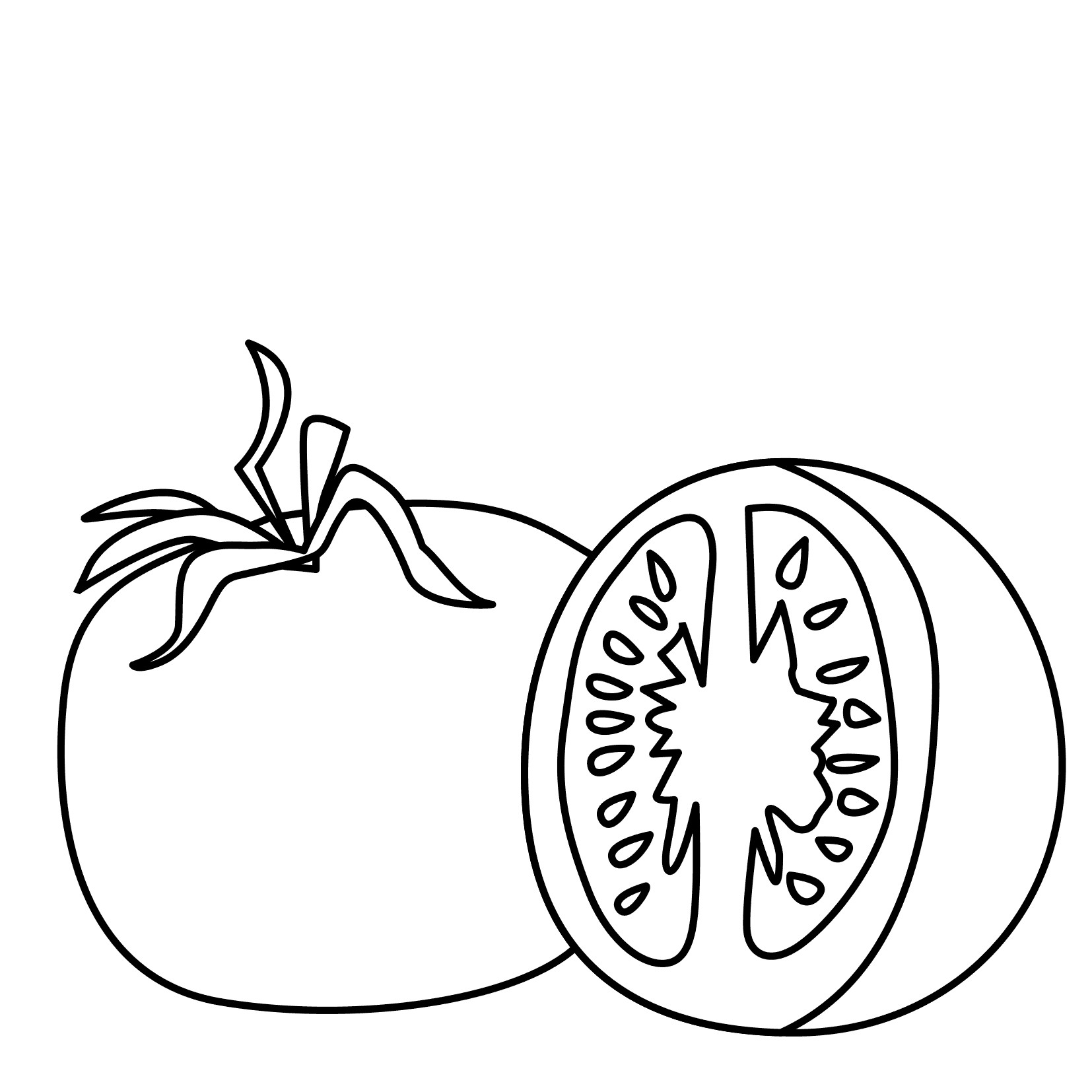 Tomatoes clipart coloured. Fresh tomato colouring pages