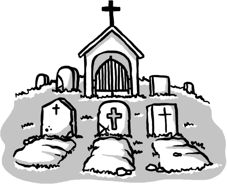 Tomb drawing. Cemetery grave clip art