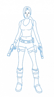 Tomb drawing. How to draw lara