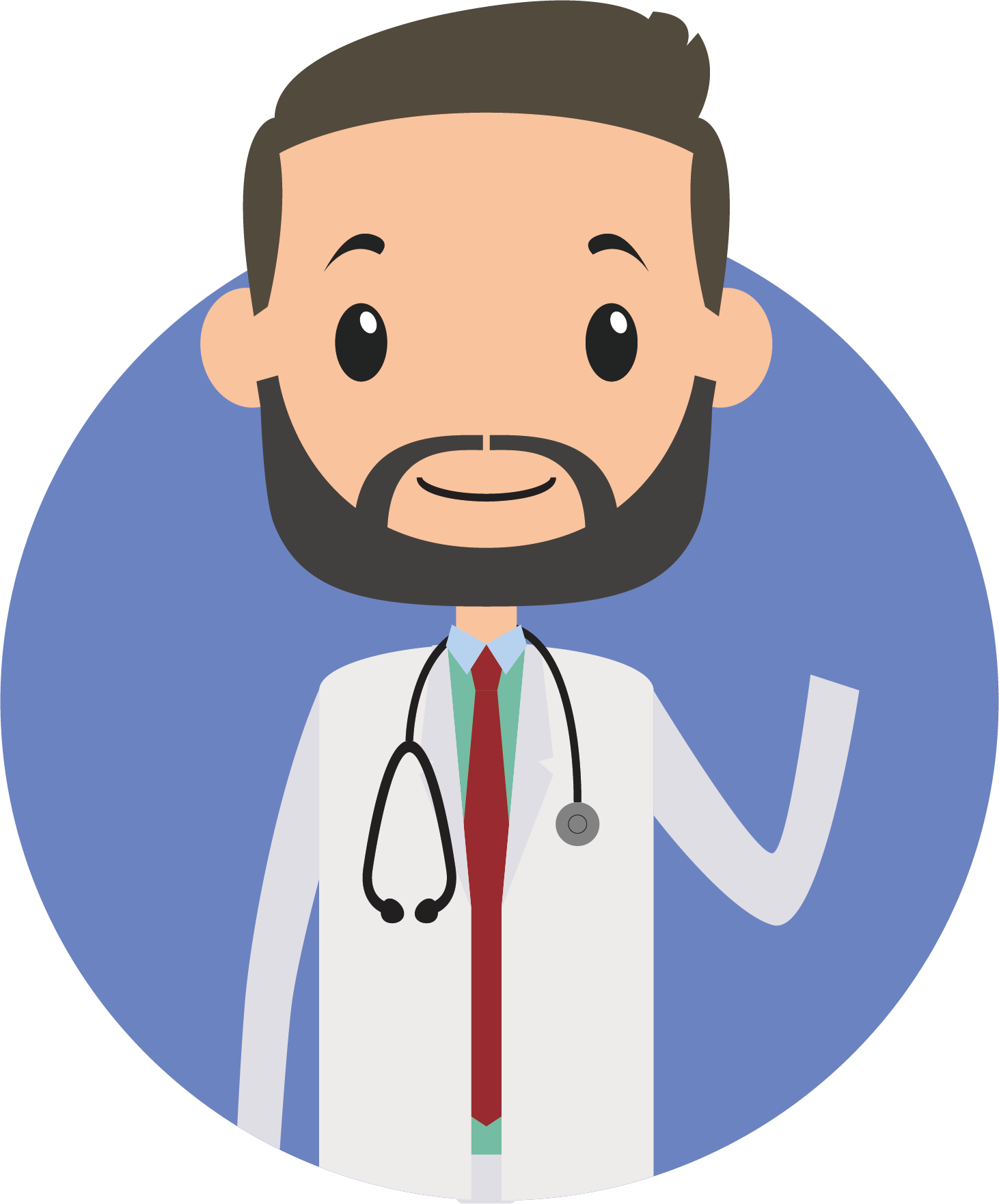 Tomb drawing physician. Cartoon the bearded doctor