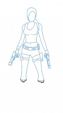 Tomb drawing sketch. How to draw lara