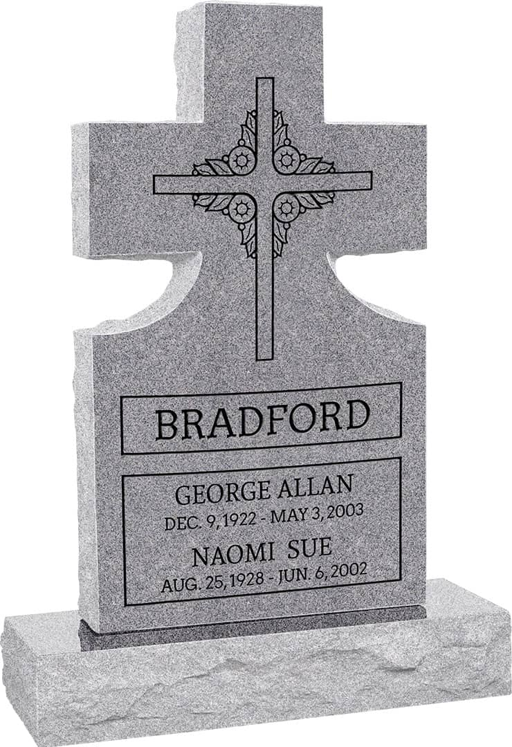 Tombstone clipart cross top. Upright headstone polished front