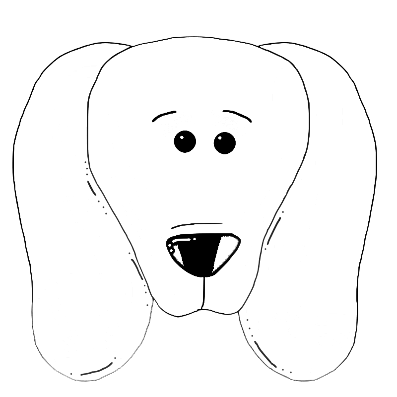Tongue clip colouring page. Cute dog face coloring