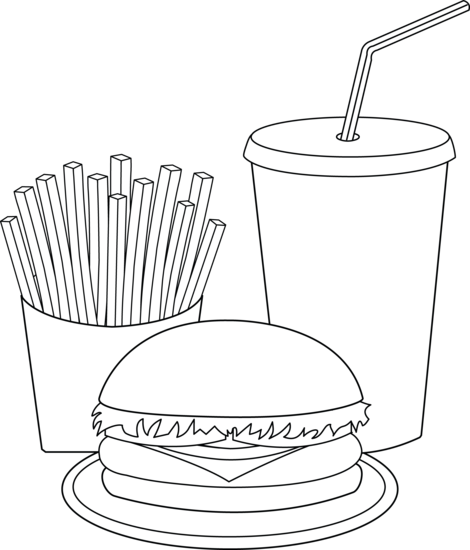 Tongue clip colouring page. Food coloring clipart