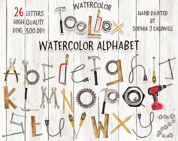 Tool clipart name. Alphabet watercolor by sophiajcaldwell
