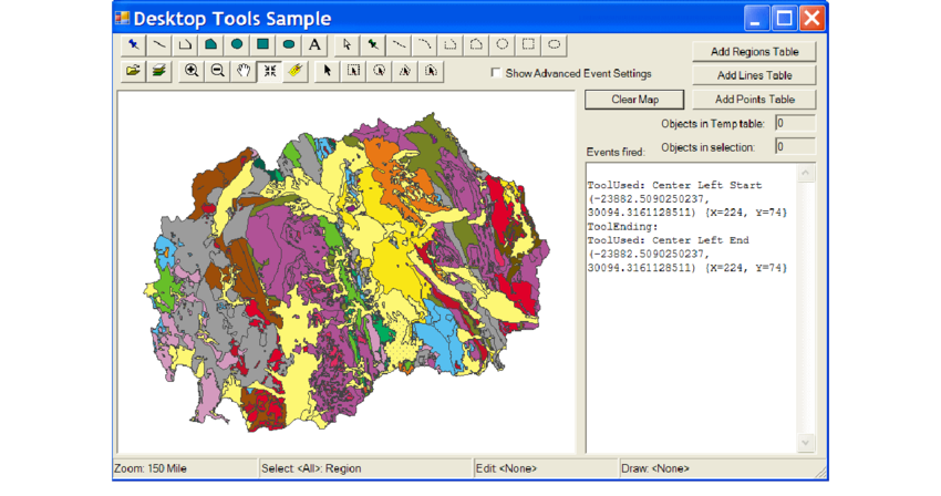 Tool drawing map. View of application desktop