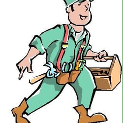 Toolbox clipart handyman. One man and a