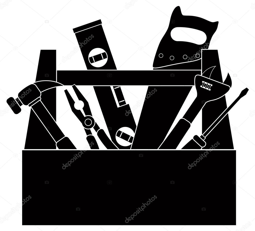 Tools clipart construction tool. In box black and