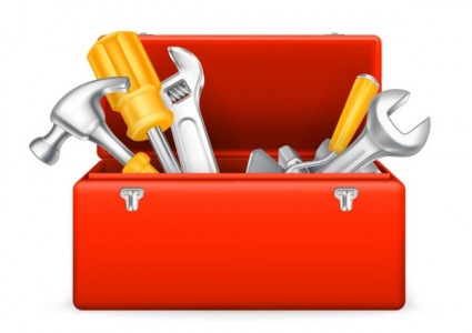 Toolbox clipart. Tool box with tools