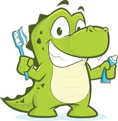 Tooth clipart alligator. Crocodile or holding toothbrush
