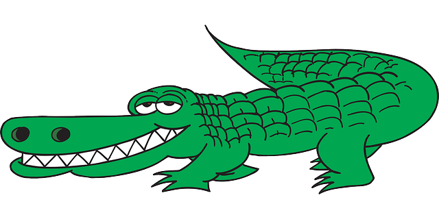 Transparent alligator side view. Cartoon tail teeth grinning
