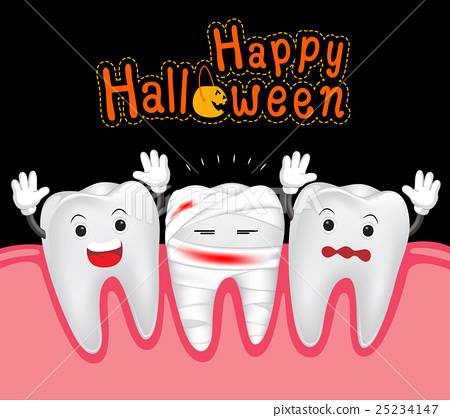 Tooth clipart halloween. Happy of teeth and