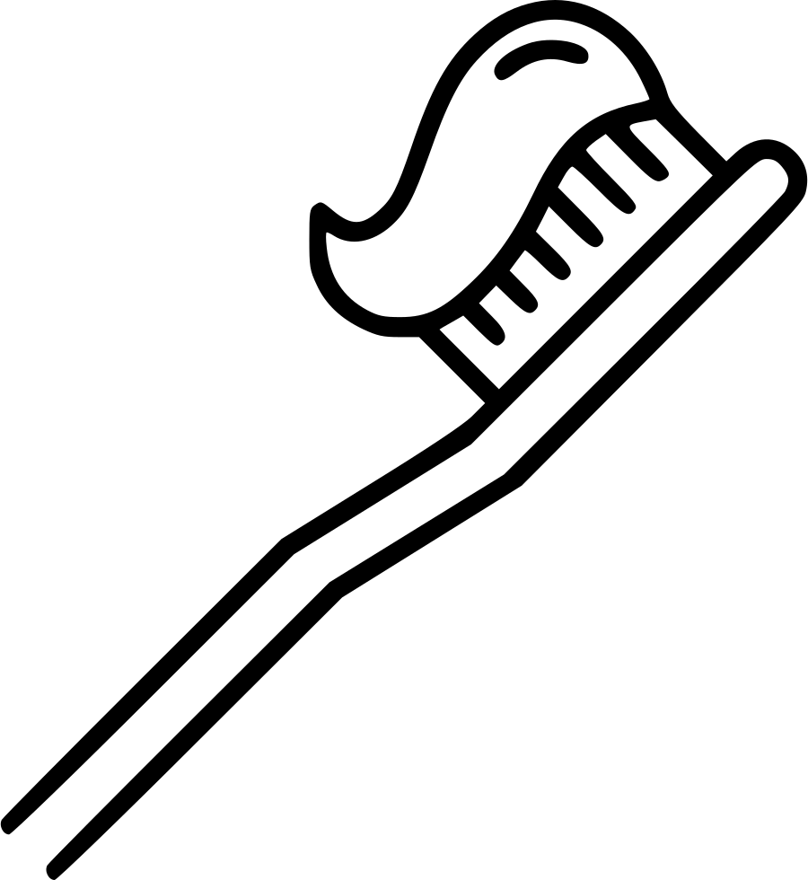 Toothbrush clip black and white. Svg transparent stock