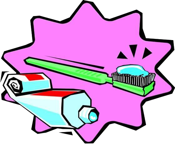 Toothbrush clip pink thing. Toothpaste cartoon green and
