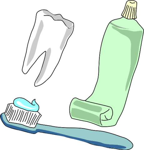 Toothbrush clip template. Tooth toothpaste and stickers