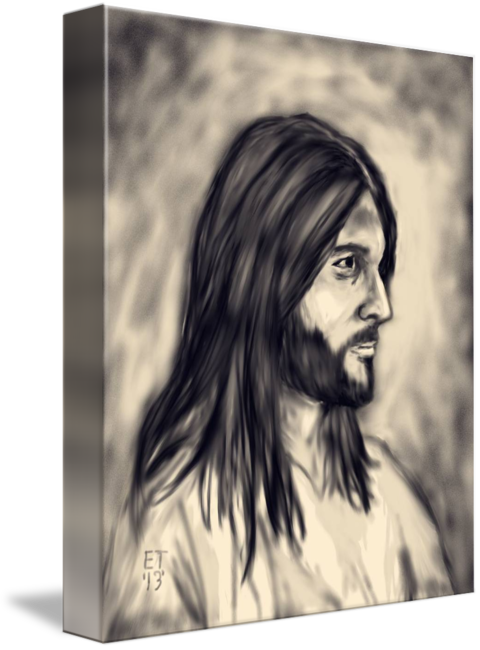 Painting of jesus by. Top drawing charcoal graphic stock
