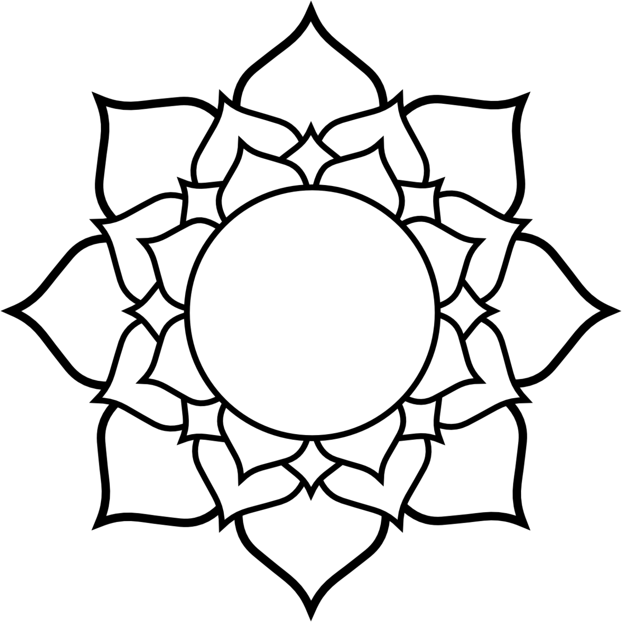 Blossom drawing linework. Collection of lotus