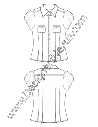Top drawing fashion design. Flat sketch fitted