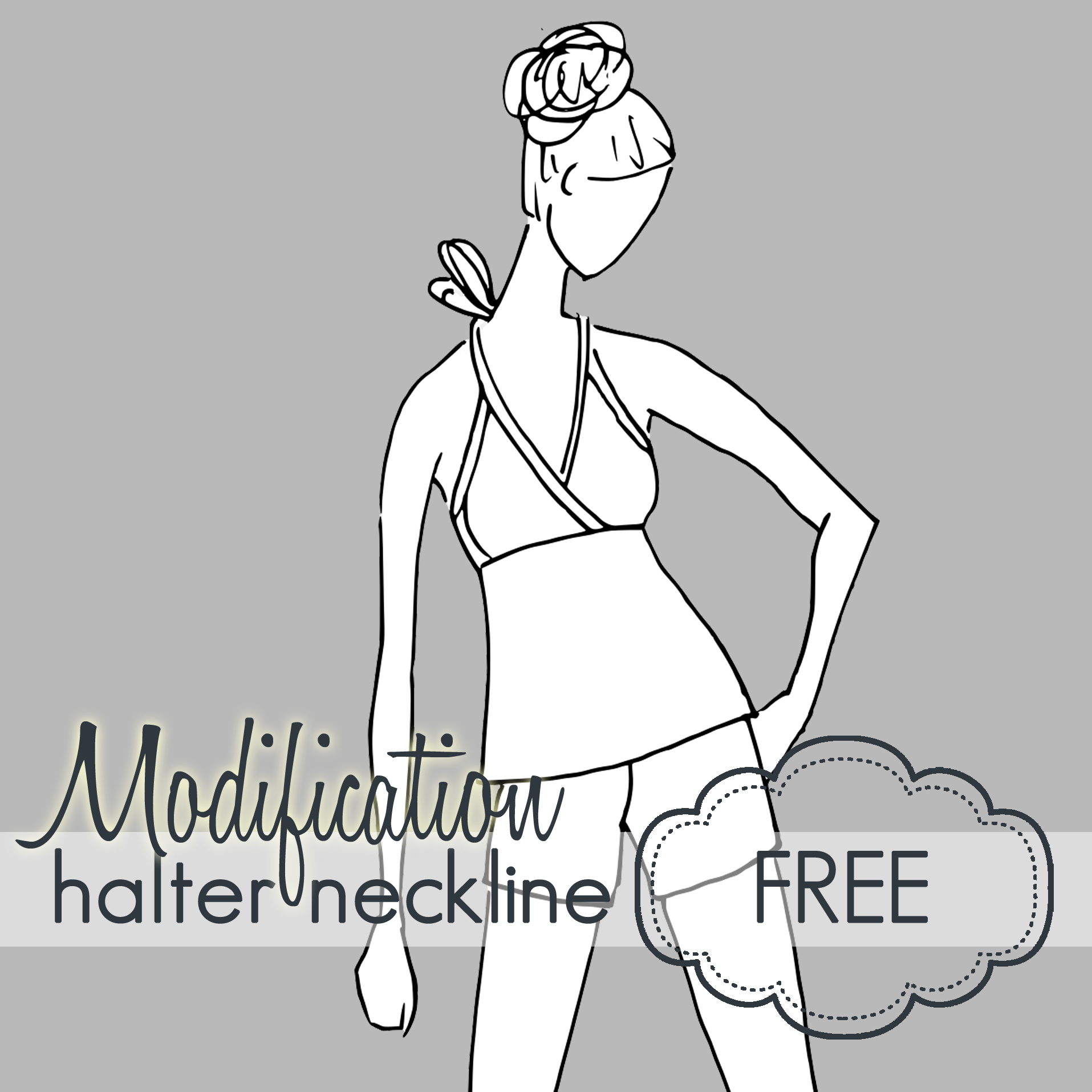 Top drawing halter. Pattern modification tutorial crossover