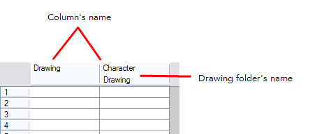 Top drawing name. Column header the tooltip