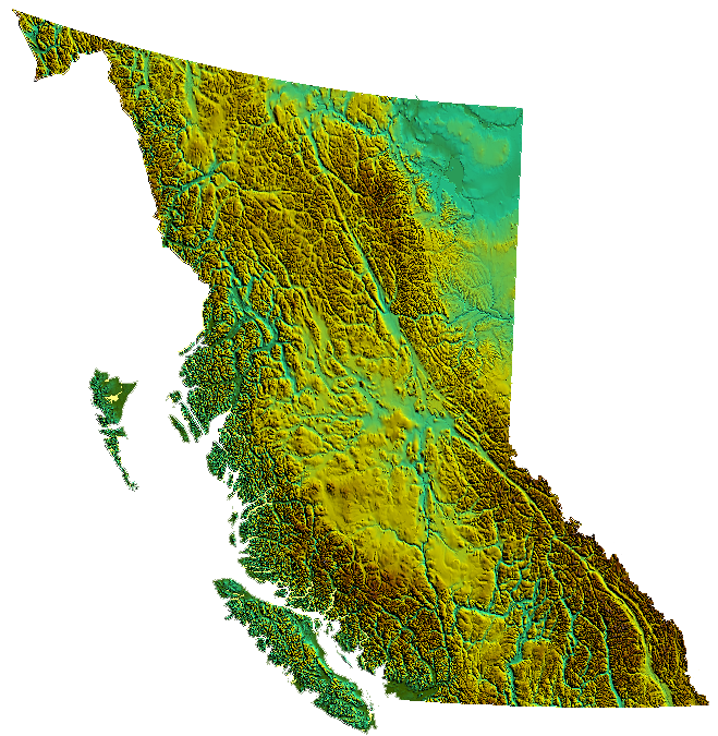 Topographic vector mountain range. Geography of british columbia