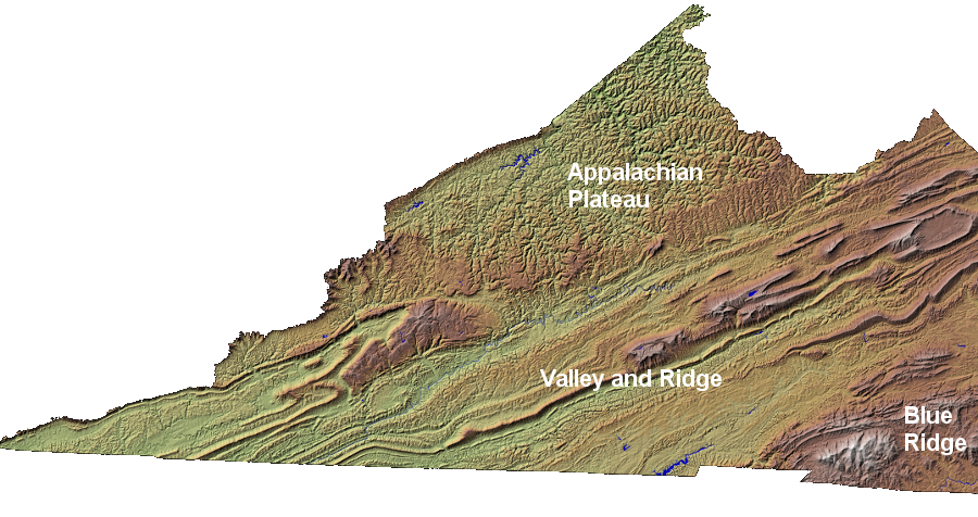 Topographic vector mountain range. Southwest virginia geography of