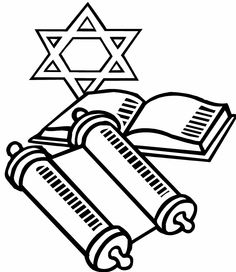 Torah clipart black and white. Jewish coloring pages for