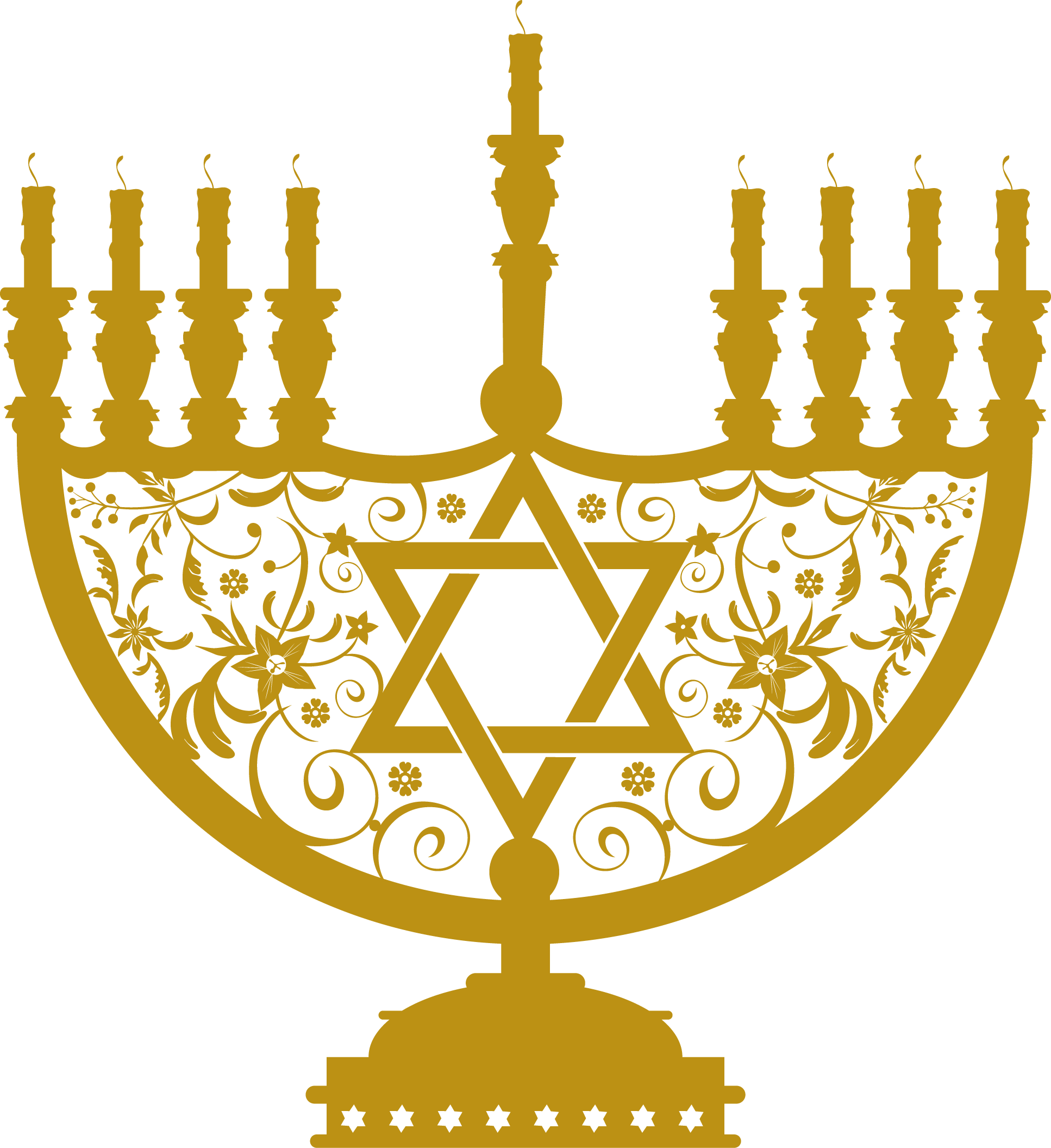 Gold transparent png stickpng. Menorah clipart graphic black and white stock