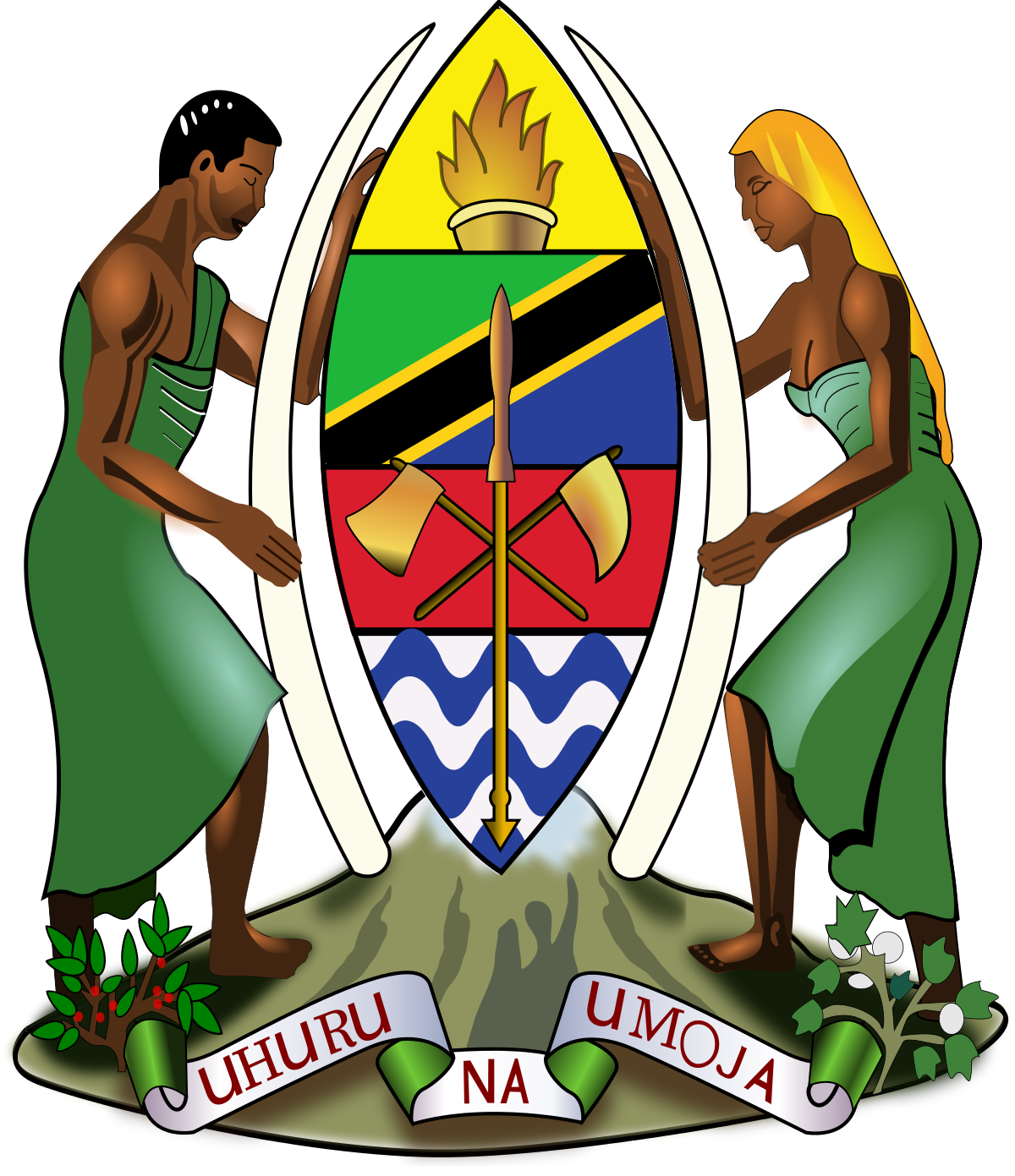 Torch clipart coat arm. Of arms tanzania wikipedia