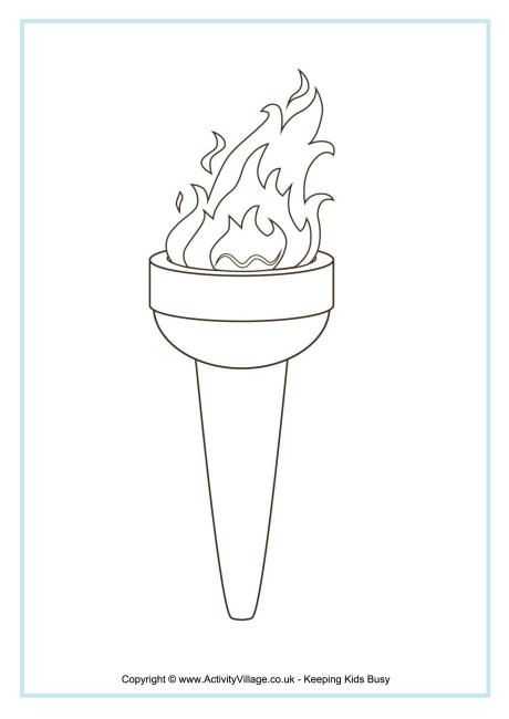 Torch clipart coloring. Olympic colouring page reading