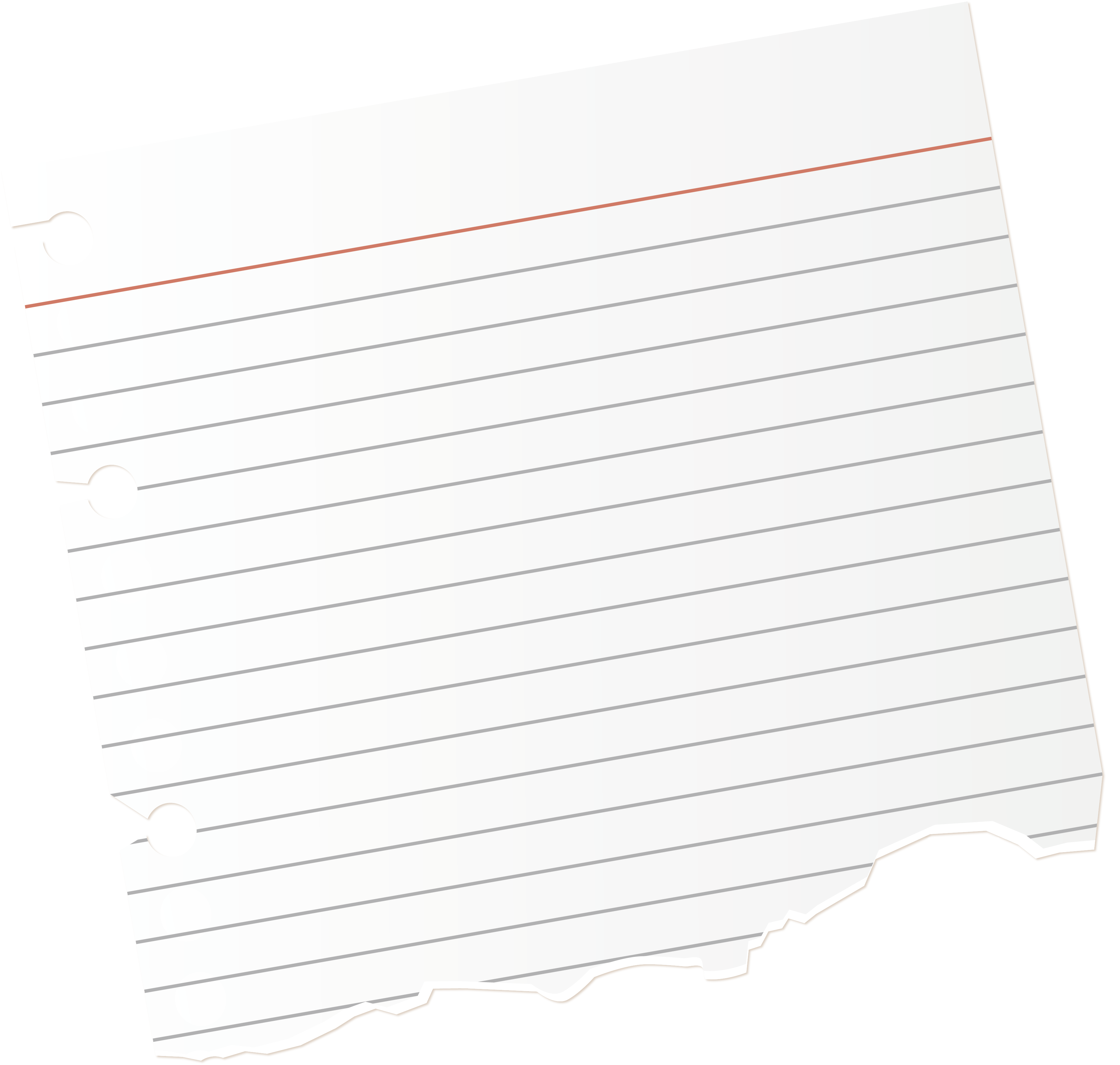 Torn notebook paper png. Document text white pattern