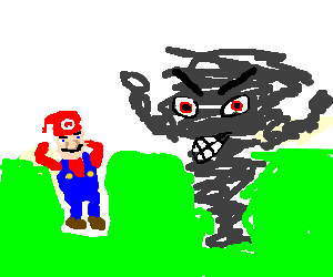 Tornado clip angry. Super mario is scared